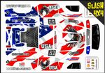 US Flag & American Bald Eagle themed vinyl SKIN Kit To Fit Traxxas Slash 4x4 Short Course Truck